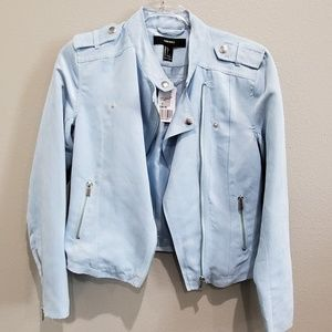F21 light blue suede moto jacket